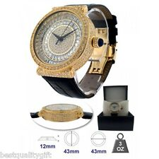 NEW BM BLING MASTER GOLD INFINITO BLACK LEATHER,PAVE CRYSTAL GLITZ WATCH-SWISS