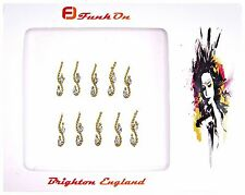 1  PACK OF 10 GOLD  DIAMANTE INDIAN BRIDAL BINDI CRYSTAL TIKKA HEAD D14