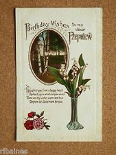 R&L Postcard: Greetings, Many Happy Birthday Nephew Trees/Woods Vase of Flowers