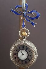 ANTIQUE SILVER HALF HUNTER FLORAL ORNATE POCKET WATCH - FRITZ ALLAMAND 1885