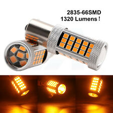 2Pcs 1320LM Amber Yellow 2835 66 SMD LED 12V 24V 1156 BA15S Car Bulb Turn Light