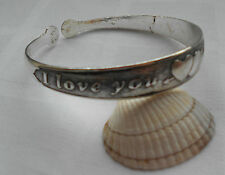 Beautiful narrow tibetan silver bangle cuff bracelet I LOVE YOU two hearts motif