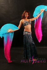 1pair sturdy turquoise-pink 1.5m belly dance silk fan veil+carry bag. Real silk