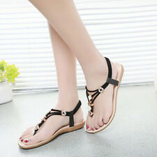 Womens Beach Boho Flat Diamante Lace Up Rubber Sandles Strappy Shoes Size 2-7.5