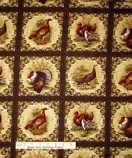 Thanksgiving Fabric - Turkey Bird Autumn Fall Benartex Turkey Run #02390 - Yard
