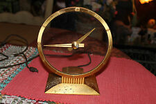 Vintage Jefferson Golden Hour Electric Clock-Art Deco See Through Clock-Gold