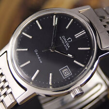 AUTHENTIC OMEGA GENEVE DATE BLACK DIAL AUTOMATIC MENS WRIST WATCH