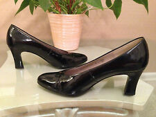 Ladies Gabor Fashion black patent leather rounded toe court shoes UK 6.5