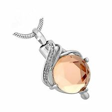 Stainless Steel Topaz Cremation Pendant Urn Jewelry Holds Pet Ashes Human