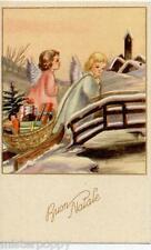 Angeli trasportano Doni Neve Angels Xmas PC Circa 1930 Italy