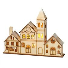 2016 Lighted LED City Village House Scene Wood Carving Christmas Ornament 128448