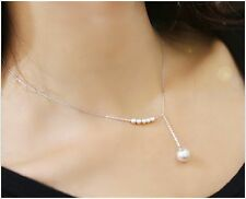 New Elegant Clavicle Chain Silver Color Pearl Beads Necklace Pearl Drop Necklace