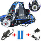 18650 XM-L T6 LED HEADLIGHT HEAD LIGHT LAMP ZOOMABLE 5000LM 2X BATTERY CHARGER