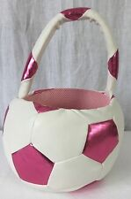 Soccer Ball Pink Shimmery And White Pleather Easter Basket Bag