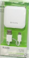 Bavin 3 Port USB Power Charger Adapter For Smartphone With Micro USB Cable