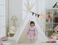 Dream House Indoor Outdoor White Teepee Play Tent Reading Canvas for Kids Toy