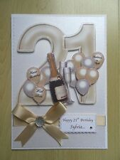 Luxury Hand-Made 21st Birthday Card-Can Be Personalised-Any Relative/Friend