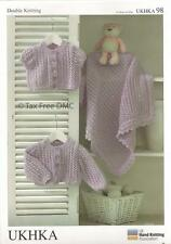 VAT Free Hand Knitting Pattern DK Baby Child Blanket Cardigans UKHKA98 New