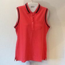 Nautica Women's Sleeveless Shirt Orange/Black Medium NWT