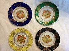 """Lot of 4 Antique Winterling Bavaria Germany 7 1/2"""" Plates Muti-Color Fruits"""