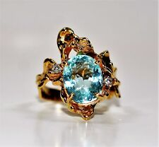 Very Rare Custom 3.05tcw Paraiba Tourmaline & Diamond 14kt Yellow Gold Ring