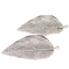 5pcs Vintage Style Silver Tone Alloy Large Leaf Charms Pendant Metal Findings BS