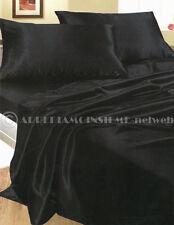 Completo MATRIMONIALE RASO NERO lenzuola camera letto set biancheria fodere