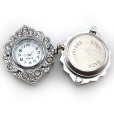 1Pcs Silver Plated Rhinestone Quartz Oval Watch Face For Beading 31x27mm 151049