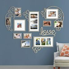 Heart Love Photo Picture Frame Collage Set Silver Wall Art Decor Home Decoration