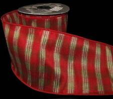 "Elegant Red Green Plaid Christmas Holiday Wide Wired Ribbon 4""W"