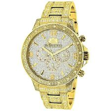 Luxurman Men's Liberty 18k Yellow Gold-plated 1.25ct Diamond Watch with Metal Ba