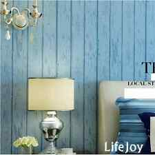 Blue Wood Panel Optic Timber Plank Kids Boys Children's Study Room Wallpaper 10M