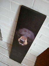 LARGE BLACK BEAR PHOTO CANVAS PRINT SIGN Rustic Cabin Lodge Wall Home Decor NEW