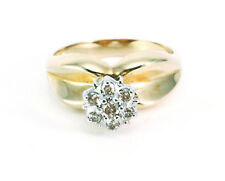 14K Solid Yellow Gold Cluster Diamond Ring for women 3.5 g,ring size 6. New