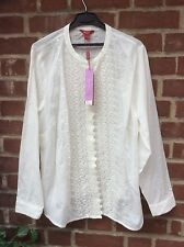 BNWT MONSOON LOVELY IVORY COTTON LONG SLEEVE EMBROIDERED FRONT BLOUSE - SIZE 22