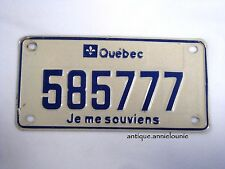QUEBEC MOTORCYCLE Vintage License Plate #585777