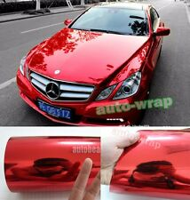 "Bidding - 12"" x 60"" Car Glossy Chrome Mirror Vinyl Wrap Sticker Film Sheet Red"