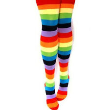1Pcs Women Polyester Thigh High Warm Rainbow Striped Knee Ladies Socks Legging