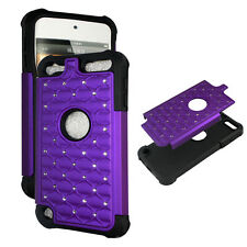 Purple Hybrid Rhinestone silicon Apple iPod Touch 5th gen Cover Case