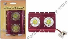 Lot=4 Dual/2/Two Fan IDE/SATA/SCSI/PATA HD/Hard Disk Drive Cooler/Heatsink {RED