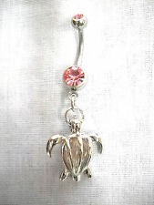 NEW 3D HONU SEA TURTLE w CAGED PINK CRYSTAL CHARM BABY PINK CZ 14g BELLY RING