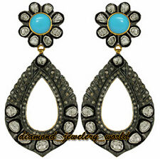 Estate Vintage 4.50cts Rose Antique Cut Diamond Turquoise Jewelry Silver Earring