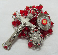 "† HEALING VINTAGE RELIC ""DIVINE MERCY"" BLESSED MEDAL & ENAMEL STERLING ROSARY †"