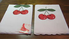Pair Vintage Swiss Embroidered Applique Red Cherries Curtains DEFECT 36Wx45L NOS