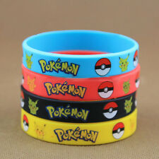 4pcs Pokemon Go Pikach Wristband Silicone Stretchy Bracelet Bangle Party Gift W8