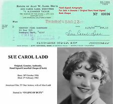 SUE CAROL LADD  FILM TV STAGE  ACTRESS  HAND SIGNED BANK CHEQUE  1972  RARE ITEM
