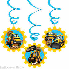 6 My 1st JCB Digger Birthday Party Hanging Swirls Cutout Decorations