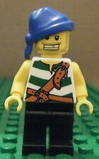 LEGO MINI - PIRATES GREEN & WHITE STRIPES, BLUE BANDANA, GOLD TOOTH -GENTLY USED