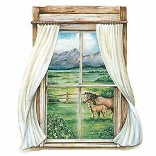 Mother & Colt Horses Outside the Window Wallpaper Mural 15227