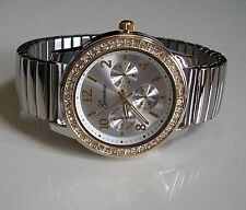 Geneva Women's Stretch Band Fashion Silver & Gold Finish Stone Inspired Watch